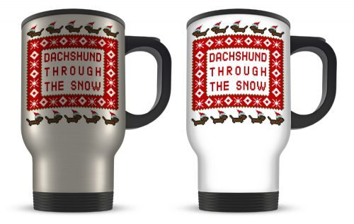 14oz Dachshund Through The Snow Funny Christmas Pixel Novelty Gift Aluminium Travel Mug